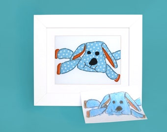 Your kids drawing embroidered - Your child's art - Framed art - Your childrens drawing keepsake - gift ideas for mom from daughter