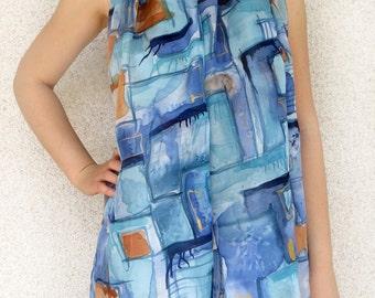 Silk scarf, Hand made silk scarf, Hand painted silk scarf, Plaid silk scarf, Unique silk scarf gift, Blue orange scarf, Most popular item
