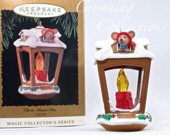 1996 Hallmark Chris Mouse Inn Keepsake Ornament Lantern 6th in Series Lamp Lighted  #6 Vintage Christmas