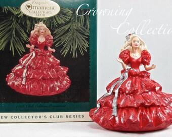 1996 Hallmark 1988 Happy Holidays Barbie Keepsake Ornament Collector's Club Exclusive KOC Edition Celebration Barbie Doll Vintage Ornament