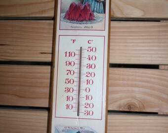 RESERVED**1987 Raspberry Jello Advertising Thermometer  Wood Plaque