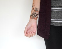 Floral Bear and butterflys temporary tattoo - Fall, Butterfly, Black, Colourful, Tattoo, Woodland, Accessories - NO. H01