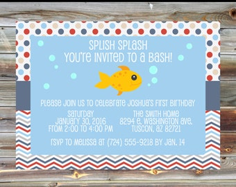Fish Theme First Birthday Invitation - Printable Custom Goldfish 1st Birthday Boy Girl Invitation - Nautical Theme Birthday Party Invite