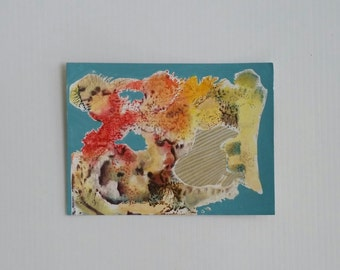 "Small original oil painting/ ""Reef""/ abstract/ recycled support of cereal box/ 5x7 inches"