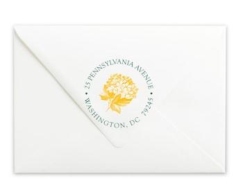 Custom Self-Inking Multicolor Stamp - Personalized Multi-color Stamp - Return Address Stamp -  Flower Bunch Multicolor Address Stamp