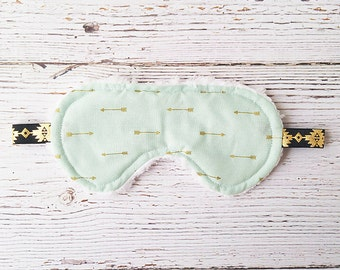 Sleep Mask - Christmas In July - Gift for Her - Sleepwear - Mint And Gold - Stocking Stuffer - Travel Accessories - Face Mask - Blindfold