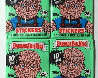4 vintage 1987 Topps Garbage Pail Kids series 10 wax pcks trading sticker cards