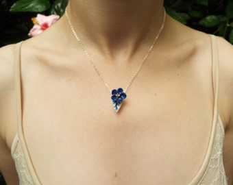 Porcelain single blue flower blossom necklace, gold lustred, glazed and on a sterling silver 18'' chain