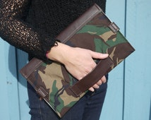 Baby Changing mat and clutch in one, chocolate brown leather and camouflage printed cotton, perfect baby shower gift