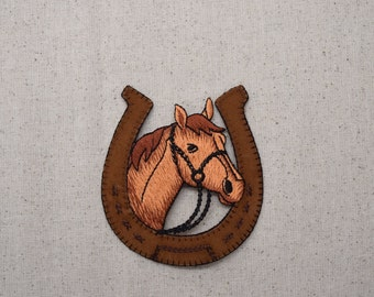 Horse Head - in Horseshoe - Iron on Applique - Embroidered Patch - 150243