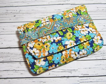 Women's Fabric Pouch Wallet, Cosmetic Make Up Pouch, Ladies Days Blue Sanitary Pad Wallet, Phone Wallet, Gift For Her
