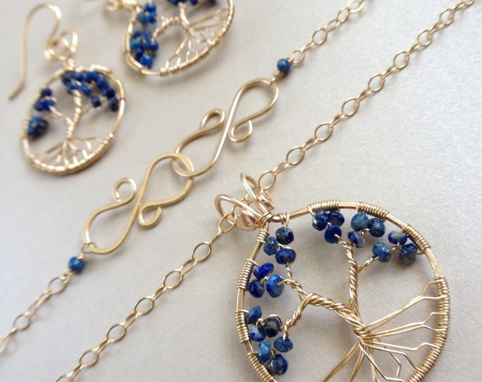 Lapis Lazuli Gold Tree Of Life Set 9th Anniversary September Birthstone December Birthstone Protection Stone Necklace Healing Energy Stone