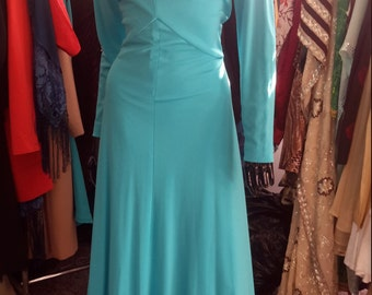 FREE SHIPPING!!!  Beautiful turquoise maxi dress vintage 1970 for women size 12