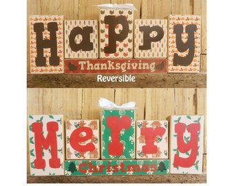 Happy Thanksgiving Merry Christmas Reversible Block Set, Thanksgiving Block Set, Christmas Block Set, Thanksgiving, Christmas, Decoration