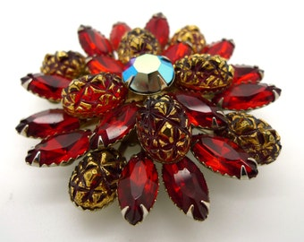 Large Sparkly Ruby Red Vintage Brooch Pin Signed