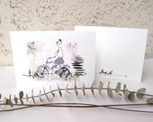 Girl on a Bicycle Card - 5x7 Greeting Card - Fashion Illustration Card