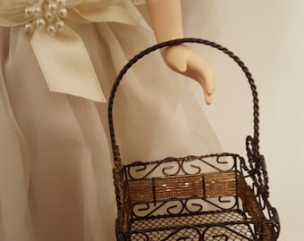 Doll Shopping Basket/ 1:4 scale basket/ miniature wire basket/ American Girl Size / doll bag/ doll basket/ 18 inch doll accessory