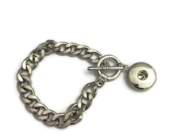 Snap Jewelry, Snap Bracelet, Snap Bracelet with Links, Toggle Clasp and Snap Pendant, Fits all Standard 18mm Snap Charms,