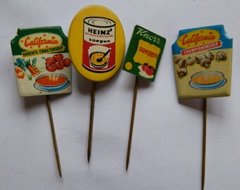 Four 1960's Dutch Soup Advertising Stick Pins / Lapel Badges: Knorr, California and Heinz