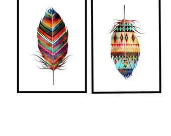 Feather wall art Feather Wall decor  A1 Poster Feather printables Feather Poster Large Poster Printables - Set of 2 A1 feather files