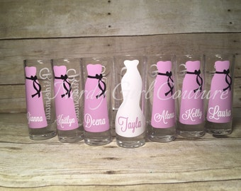 Wedding Glasses, Personalized Bachelorette glasses,Bridesmaid Shot Glasses, Wedding Party Glasses (1), bridesmaid proposal gift