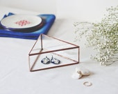 Small Jewelry Box, Makeup Storage, Geometric Earring Box, Girlfriend Gift, Glass Jewelry Storage, Triangle Ring Box, Rose Gold Keepsake Box