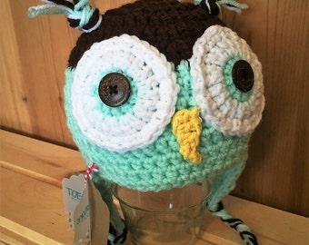 Crochet Brown/Mint Green Owl Hat; (1-3yr)