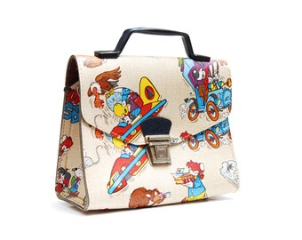 Vintage Fix and Foxi comic bag, collectible cardboard case top handle handbag with fox comic figures, Rolf Kauka Germany, 1960s