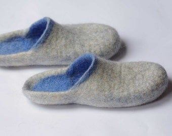 ON SALE! Felted wool slippers- boiled organic shoes- step in slippers- blue slippers- woman slippers