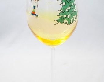 Painted Wine Glass, Snowman Wine Glasses, Tree Topper, Christmas Wine Glass, Wine, Painted Wine Glasses, Hand Painted Wine Glasses, Holiday