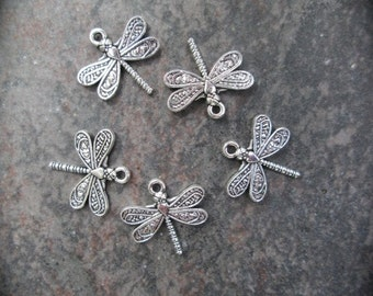 Dragonfly charms Package of 5 charms perfect for adjustable bangle bracelets Antique silver finish dragonfly charms