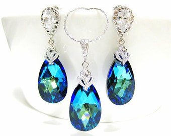 Bermuda Blue Swarovski Crystal Teadrop Earrings & Necklace Gift Set Wedding Jewelry Bridesmaid Gift Bridal Earrings Blue Earrings (NE046)