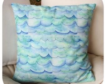 Watercolour Waves Cushion Cover