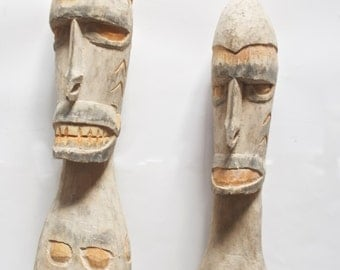 New Guinea A Pair of Two Asmat Tall Male and Female Figures Sculpture Artifacts L825-753