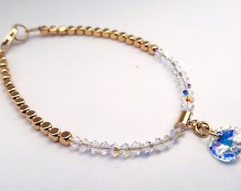 Crystal  Bracelet/ Gold Crystal Bridesmaid Bracelet/ Bridesmaid bracelet/ Swavorski Crystal Bracelet/ Crystal Bracelet with Charm
