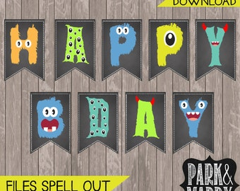 Little Monster Birthday Banner Chalkboard Printable. Monster Party. Monster Decorations.