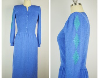 Vintage 1970s Dress / 70s Periwinkle Sweater Dress / Medium to Large