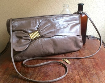 Vintage 80s Letisse Taupe Leather Purse with Decorative Bow / Crossbody Shoulder Bag /