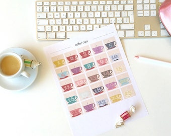 printable advent numbers - instant download - advent calendar - coffee cups - ON SALE - commercial use allowed - Christmas