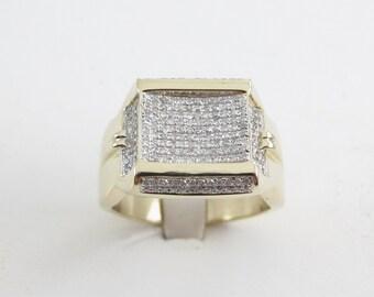 10k Yellow Gold Men's Diamond Ring - 10k Yellow Gold Diamond Ring For Men 1.00 carat