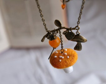 Woodland fairy yellow mushroom necklace. Needle felted pendant inspired by nature and fairytales.