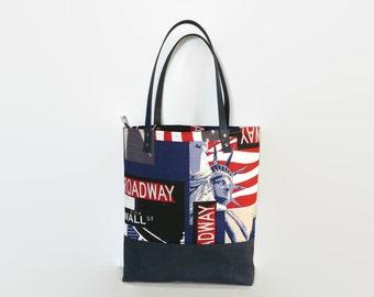Zippered tote bag, work bag, school bag, canvas shoulder bag, spacious  bag, every day tote, patriotic bag, city bag , New York, weekender