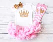 First Birthday Onesie, First Birthday Outfit, 1st Birthday Outfit, Pettiskirt,Birthday Legwarmers, Girls Gold Pink Princess Outfit,