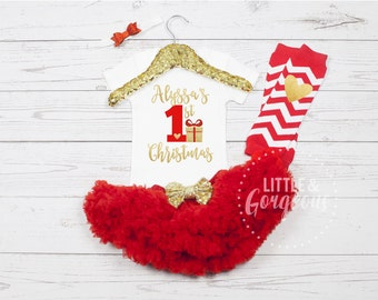 First Christmas Outfit, 1st Christmas Outfit, Baby's First Christmas, First Christmas Onesie, 1st Christmas Onesie, Girls Christmas Outfit