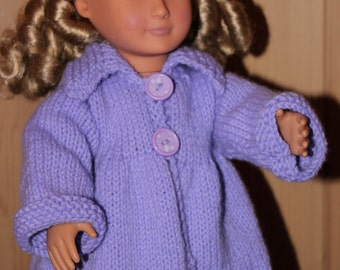 """Doll Clothes -18"""" Doll Clothes - Doll Coat - Hand Knit Doll Clothes - Knit Doll Coat - Knitted Doll Clothes - Knitted Doll Coat"""
