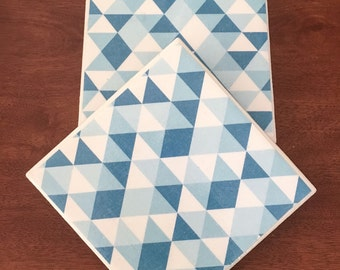 Blue tile coasters, tile coasters, ceramic tile coasters, drink coasters, coaster set, table coasters