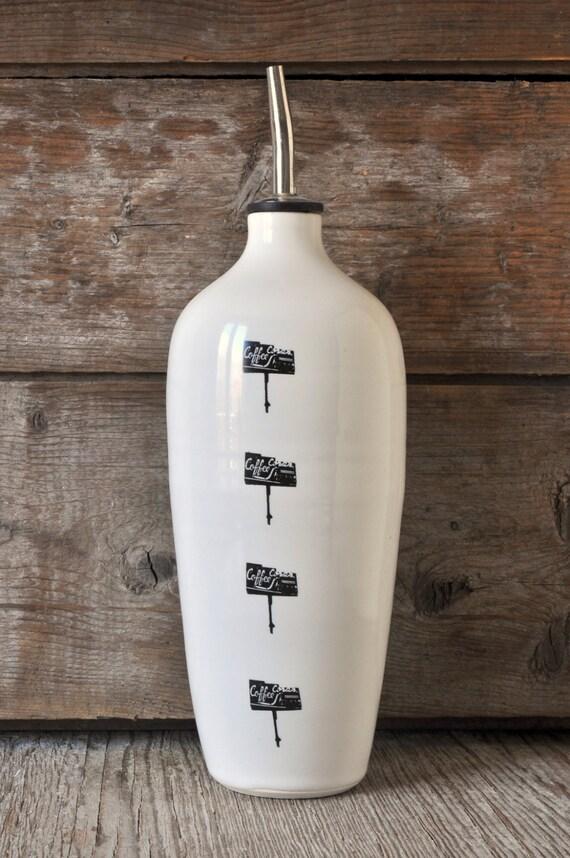 Porcelain oil/vinegar bottle with vintage COFFEE SHOP signs