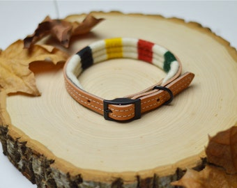 LIMITED AVAILABILITY: Padded Leather Dog Collar in Striped Wool