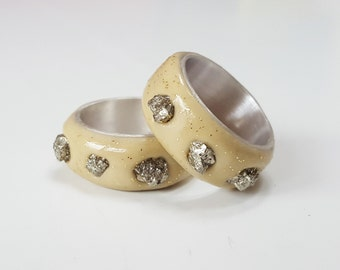 Gold Rush Feaver - Pyrite, clay & sterling silver ring