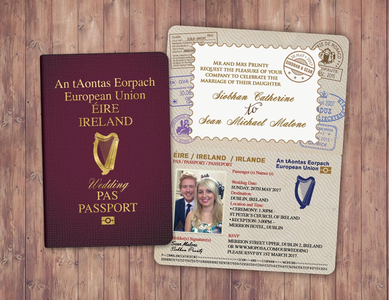 Personalised PASSPORT and TICKET wedding invitation, RSVP card ...